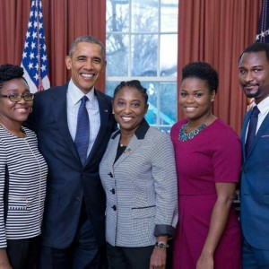 HE Ambassador Dr. Thelma Phillip Browne with President Obama and her family.