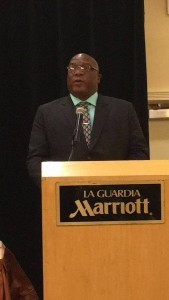 PM Dr. Timothy Harris delivering address at Hearts and Hands for Nevis Luncheon in New York